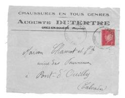 DOCUMENT Commercial ENVELOPPE 1942..Chaussures Auguste DUTERTRE à GREZ En BOUERE ( Mayenne 53)...Recto Seul - France