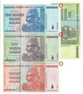 Zimbabwe Lot Set 10 20 50 100 Trillions Dollars Pick 88 / 89 / 90 / 91 UNC/UNC- - Zimbabwe