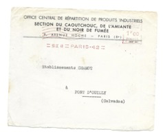 DOCUMENT Commercial ENVELOPPE 1942..Section Caoutchouc, AMIANTE, Noir De Fumee,Avenue Hoche PARIS Ier...Recto Seul - Frankreich