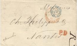 1865- Enveloppe De St Petersburg En Port Payé  Pour Nantes - Au Dos, Différentes Taxes Crayon Bleu - 1857-1916 Empire