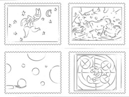 France - Cinq Dessins Sur Cartes Postales éditées Par Adphile - Conception Valérie Besser - Timbres (représentations)