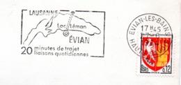 Tourisme, Evian, Lausanne, Lac Leman, Navigation  - Flamme Secap - Enveloppe Entière (V425) - Autres Collections
