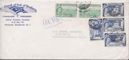Enveloppe Plymouth Montserrat B.W.I. Coton Sea Island Cotton Stamp Cover The Church Of God Prophecy Cleveland Tennessee - Montserrat