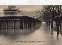 HOCHWASSER KATASTROPHE BAD KISSINGEN 1909 DIE SALINEN-PROEMENADE UNTER WASSER - Bad Kissingen