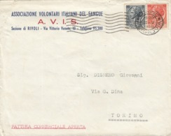 9572-BUSTA INTESTATA A.V.I.S. - SEZIONE DI RIVOLI TORINESE-1956 - Advertising