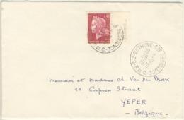 40C MARIANNE CHEFFER BANDE FLUO TARIF LETTRE POUR LA BELGIQUE 29/12/70 - Marcophilie (Lettres)