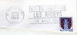 Vin, Champagne, Fête, Les Riceys, Bar Sur Aube, 1969 - Flamme Secap - Enveloppe Entière (V430) - Autres Collections