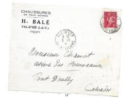 DOCUMENT Commercial ENVELOPPE 1941..Chaussures H. BALE à VAL D'IZE ( Ille Et Vilaine 35)...Recto Seul - Francia