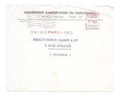 DOCUMENT Commercial ENVELOPPE 1942..Groupement Importation Du CAOUTCHOUC, Avenue Hoche PARIS VIIIe ...Recto Seul - Francia