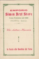 """9575-EMPORIO """"SIMON ARZT STORE"""" - PORTO SAID(EGITTO) - Pubblicitari"""