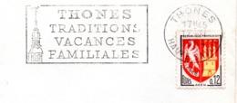 Tourisme, Thones, Clocher - Flamme Secap - Enveloppe Entière (V437) - Autres Collections