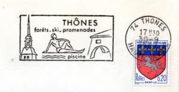 Tourisme, Thones, Clocher, Piscine - Flamme Secap - Enveloppe Entière (V438) - Autres Collections