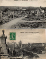 MOREUIL - La Place En Ruines Après La Grande Guerre - Le Cimetière - Moreuil