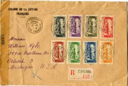 GUYANE LETTRE RECOMMANDEE CENSUREE DEPART CAYENNE 31-8-44 GUYANE FRANCAISE POUR LES ETATS-UNIS - Lettres & Documents