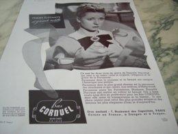 ANCIENNE PUBLICITE LES  BAS CORNUEL   1939  DANIELLE DARRIEUX - Vintage Clothes & Linen