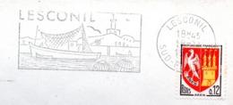 Tourisme, Bretagne, Lesconil, Pêche, Chalutier - Flamme Secap - Enveloppe Entière  (V439) - Autres Collections