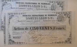 ACTION- LOT De 15 Actions De UNION Des PROPRIETAIRES De VIGNOBLES - BOUTELLEAU & Cie à BARBEZIEUX - 16 Charente - Agriculture