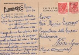 """9578-MANIFACTURE D'HORLOGERIE """"EBERHARD E CO.""""-LA CHAUX-DE FONDS(SUISSE)-OROLOGI-1954-FG - Publicité"""