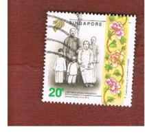 SINGAPORE   -  SG 688  -    1992  COSTUMES: CHINESE FAMILY -  USED ° - Singapore (1959-...)