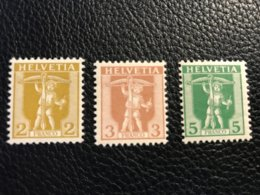 Schweiz 1907 Zumstein-Nr. 101-103 ** Postfrisch (102) Und * Ungebraucht Mit Falz (101/103) - Switzerland