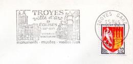 Tourisme, Troyes, Art, églises, Vitraux- Flamme Secap - Enveloppe Entière  (V444) - Autres Collections