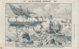 Illustrateur  :  Bergevin ? Millénaire  Normand 1911  Viking ! Vache , Bateau  , J. Girieud  éditeur , Rouen - Künstlerkarten