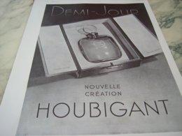 ANCIENNE PUBLICITE PARFUM DEMI JOUR DE HOUBIGANT 1937 - Perfume & Beauty