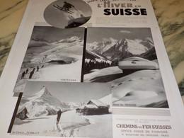 ANCIENNE PUBLICITE L HIVER EN SUISSE 1937 - Invierno