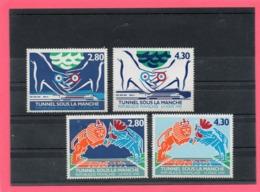 4 Valeurs ** ( Inauguration Du Tunnel Sous La Manche ) - Postzegels