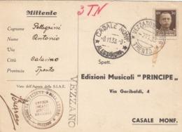 9581-SOCIETA' ITALIANA DEGLI AUTORI-VEZZANO(TRENTO)-MUSICA-1933-FG - Werbepostkarten