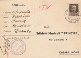 9582-SOCIETA' ITALIANA DEGLI AUTORI-MILANO AGENZIA DI CONDINO(TRENTO)-MUSICA-1933-FG - Advertising