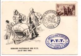 CARTE MAXIMUM 1945 VICTIMES DE GUERRE DES PTT - 1940-49