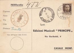 9583-BANDA SOCIALE-OSSANA(TRENTO)-MUSICA-1934-FG - Werbepostkarten