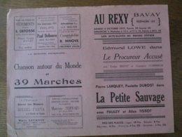 BAVAY CINEMA AU REXY 2 ET 3 OCTOBRE 1937 LE PROCUREUR ACCUSE AVEC EDMUND LOWE ET LA PETITE SAUVAGE - Programme