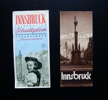 Innsbruck Due Pieghevoli Informazioni Panorama Piantina 1933 Photo Lobl Turismo - Vecchi Documenti