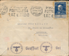 PORTUGAL WWII CENSORED COVER FROM LISBOA 1941 TO BRUSSELS - 1910-... République