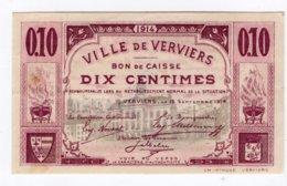 BON DE CAISSE   -  Billet De Nécessité  -  VERVIERS -  10 Centimes - 15 Septembre 1914   *neuf* - [ 3] Occupazioni Tedesche Del Belgio