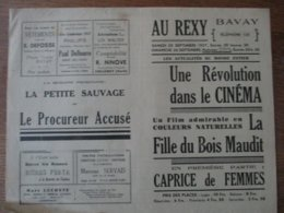 BAVAY CINEMA AU REXY 25 ET 26 SEPTEMBRE 1937 LA FILLE DU BOIS MAUDIT ET CAPRICE DE FEMMES - Programme