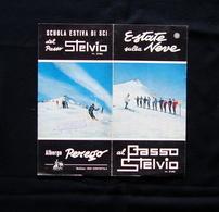 Pieghevole Turistico Scuola Estiva Sci Passo Stelvio Albergo Perego '60 Dolomiti - Oude Documenten
