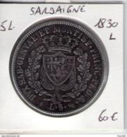 Sardaigne. 5 Lires Charles Felix. Lettre L - Monedas Regionales