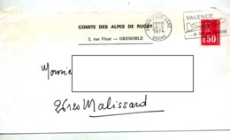 Lettre Flamme Valence Avion Entete Comite Rugby Alpes - Marcophilie (Lettres)