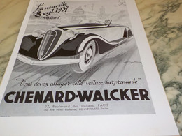 ANCIENNE PUBLICITE AUTOMOBILE CHENARD-WALCKER  1937 - Cars