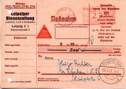 """DR Nachnahme-Karte AFS """"Deutsches Reich Reichsadler + Hakenkreuz 23 (Pfg) 24.3.41 LEIPZIG C2"""" Leipziger Bienenzeitung - Poststempel - Freistempel"""