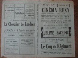 BAVAY CINEMA  REXY 14,15,16 AOUT 1937 SUBLIME SACRIFICE ET LE COQ DU REGIMENT FERNANDEL ,ANDRE ROANNE, ANDREX - Programme
