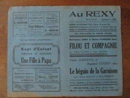 BAVAY CINEMA  REXY 30 ET 31 OCTOBRE 1er NOVEMBRE 1937 FILOU ET COMPAGNIE ET LE BEGUIN DE LA GARNISON - Programmes