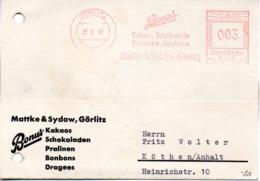 """DR Geschäfts-Karte AFS """"Deutsches Reich + Hakenkreuz 3 (Pfg) 25.9.42 GÖRLITZ Bonus Kakaos ....  Mattke & Sydow Görlitz"""" - Germania"""