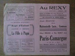 BAVAY CINEMA  REXY 23 ET 24 OCTOBRE 1937 MADEMOISELLE LUCIE....COMTESSE ET PARIS-CAMARGUE ALBERT PREJEAN - Programme