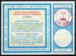 UNITED NATIONS UNIES NEW YORK Vi19 15 CENTS Int. Reply Coupon Reponse Antwortschein IRC O D2 7.11.69 - Cartas