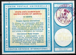 UNITED NATIONS UNIES NEW YORK Vi19 15 CENTS Int. Reply Coupon Reponse Antwortschein IRC O D2 6.5.70 - Cartas