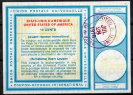 UNITED NATIONS UNIES NEW YORK Vi19 15 CENTS Int. Reply Coupon Reponse Antwortschein IRC O D2 27.7.70 - Cartas